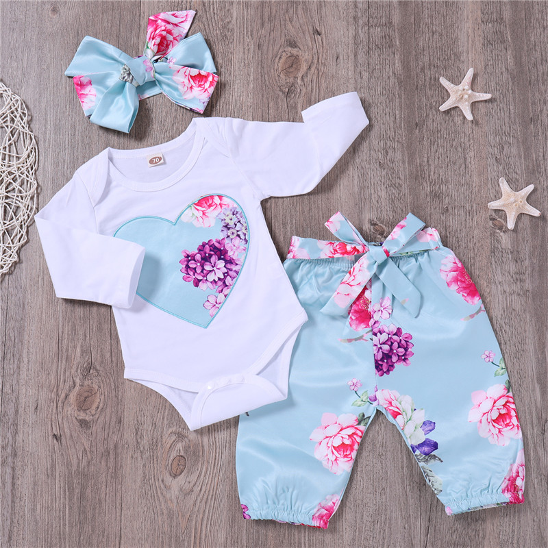 PatPat Spring Autumn Cotton Casual Newborn Beautiful Floral Bodysuit And Pants And Bow Headband Set For Baby Girl Jumpsuit