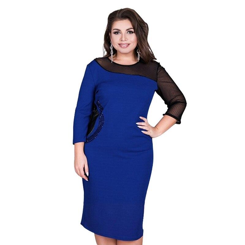 Женское кружевное платье-трапеция с круглым вырезом, размеры до 6XL
