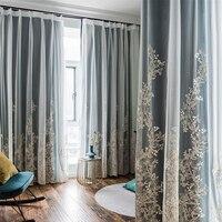Elegância decoração cortinas azul/rosa/bege tule cortinas para sala de estar quarto romântico janela cortina camadas