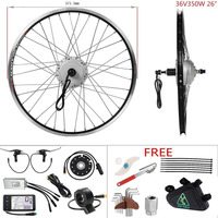 YOSE POWER Electric Bike Kit Silver color 36V 350W 26'' Cassette Brushless Rear Wheel Hub Motor Electric Bicycle Conversion Kit