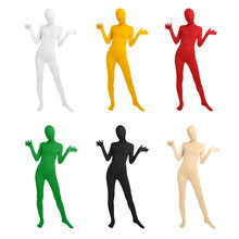 Halloween Anime Unisex Lycra Cosplay Costume All-inclusive Pure Color Tight Jumpsuit Second Skin Suit Stage Zipper Bodysuit(China)