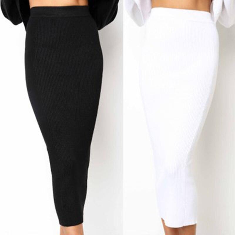 Женская трикотажная облегающая длинная юбка, модная сексуальная черная белая юбка-карандаш с высокой талией, женские эластичные юбки