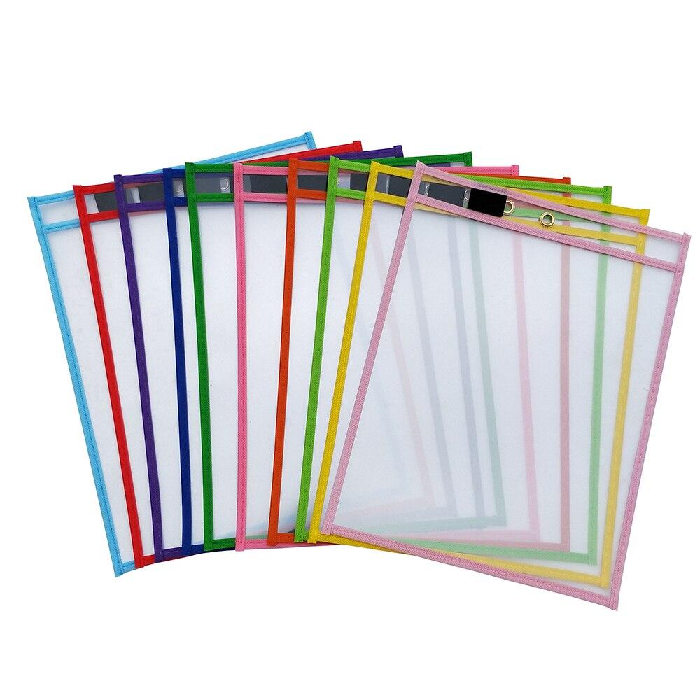10Pcs Reusable Dry Erase Pockets,10''x13'' Assorted Colors For Children Kids Students