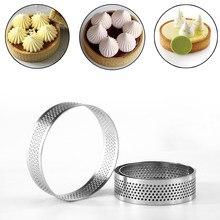 60/80mm de aço inoxidável mini tart anel tart molde pequeno círculo cortador torta anel resistente ao calor moldes de mousse de bolo perfurado
