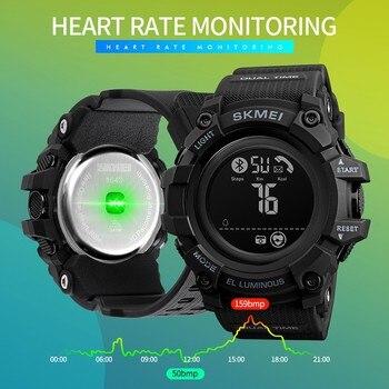 SKMEI Fashion Digital Men Wristwatch Bluetooth Heart Rate Smart Clock Fitness Pedometer Calories Waterproof Male Watch inteligen