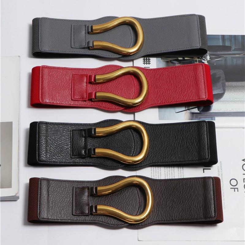 Elegant Elastic Wide Waist Belt For Women Brand Buckle Belts Black Stretch Waistband Cinch Corset Cummerbunds Correas Para Mujer