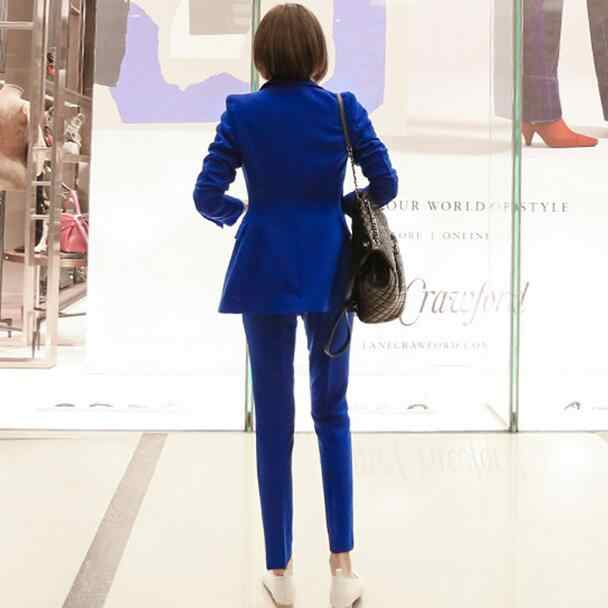 Blue Women Pant Suits Single Breasted Jacket Blazer & Pencil Pants Wear to Business Female 2 Pieces Set 2020 Autumn DF511
