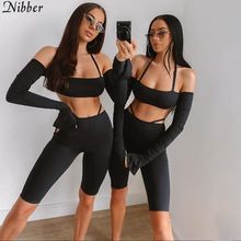Nibber Solid color sling top shorts 2two piece sets women street leisure wear suits sexy camis tank tops hollow leggingss female