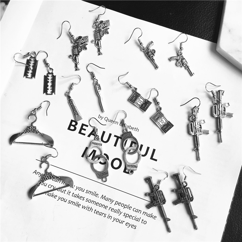 Punk Cheap Sliver Handcuffs Blade Gun Drop Earrings Creativity Jewelry Accessories Women Simple Fashion Cool Wholesale Pistols 1