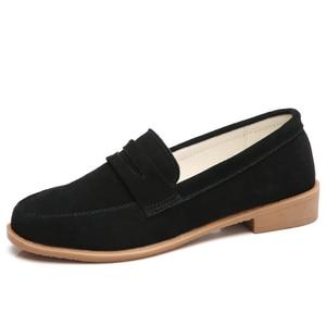 Image 1 - O16U Vrouwen Ballet flats schoenen Suede Leather Slip op Dames leuke casual Schoenen olorful Vrouwelijke Klassieke Loafers Schoeisel Lente
