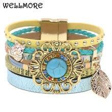 Women bracelet wrap for women bohemia leather magnetic buckle