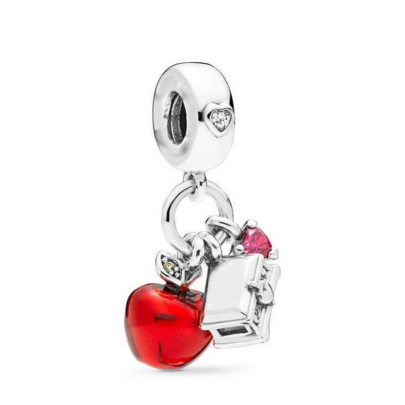TOGORY 2 יח'\חבילה מיוחד אדום אהבת לב קראון קסם חרוזים תליון מתאים מקורי פנדורה קסמי צמיד נשים תכשיטי DIY ביצוע