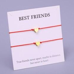 (A SET) Heart Best Friend Friends Adjustable Bracelets Lover Women Girl Couple Fashion Jewelry Christmas Gift Drop Shipping