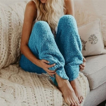 Winter Women's Soft Plush Flannel Pajama Sleep Bottoms Night Wear Solid Color Thicker Trouser Loose Long Pants