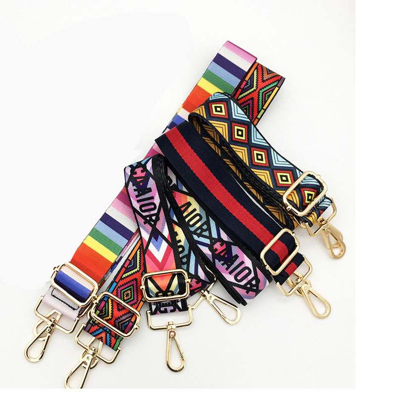 Nylon Colored Belt Bags Strap Accessories For Women Rainbow Adjustable Shoulder Hanger Handbag Straps Decorative Chain Bag OC737