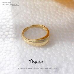 Yhpup prosty metalowy palec serdeczny dla kobiet moda geometryczny Hollow złoty kolor pierścień otwierający Trendy кольцо prezent ślubny biżuteria