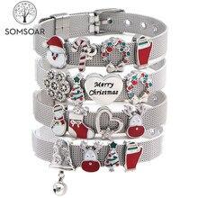 Somsoar ювелирный серебряный браслет из нержавеющей стали с сеткой, браслеты с рождественской горкой, очаровательные браслеты, подарок на Рождество