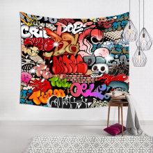 Colorful Graffiti Skull Face Tapestry Wall Fabric Boho Dorm Decor Wall Cloth Tapestries Sofa Picnic Bed Beach Blanket Curtain(China)