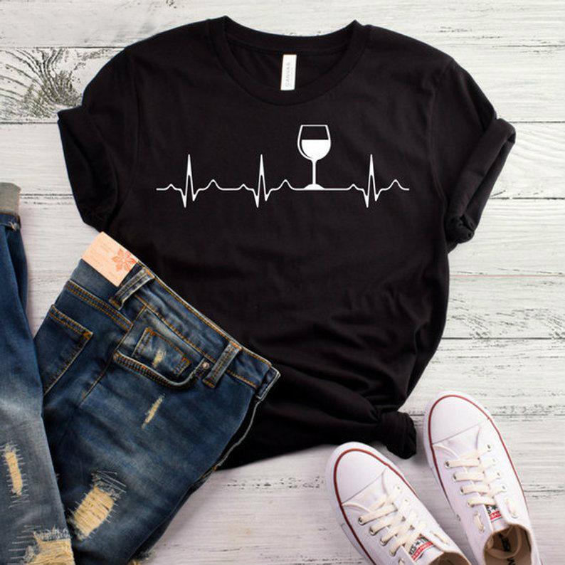 Wine Heartbeat Print T Shirt Women Short Sleeve O Neck Loose Tshirt 2020 Summer Women Tee Shirt Tops Camisetas Mujer