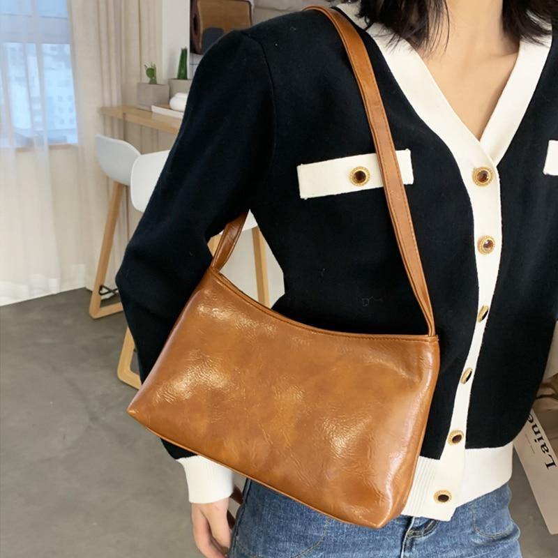 Women Leather Shoulder Bags Solid Color Vintage Bag Zip Messenger Pack Mediaeval Style Bolsa Feminina Retro Totes Purse