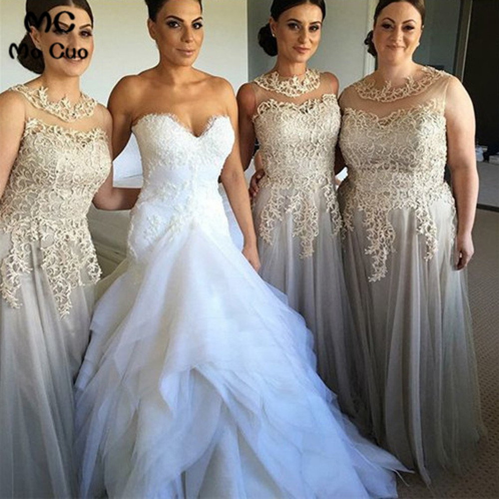 Sheer Lace   Bridesmaid     Dresses   Long with Appliques Wedding Party   Dress   Sleeveless Grey Prom   Bridesmaid     Dresses   for women