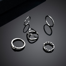NJ  1 Set Series Unique Ring Punk Style Silver Color Knuckle Rings For Women Finger