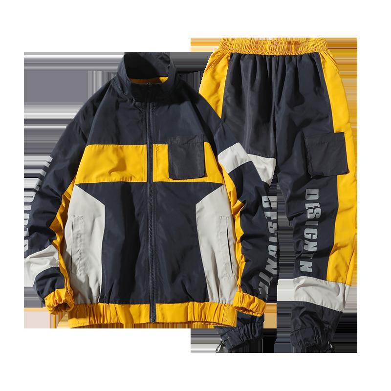 2020 Men's Hip Hop Tracksuit Men Two Piece Clothing Sets Casual Jacket Pants 2PCS Track Suit Sportswear Sweatsuits ABZ552