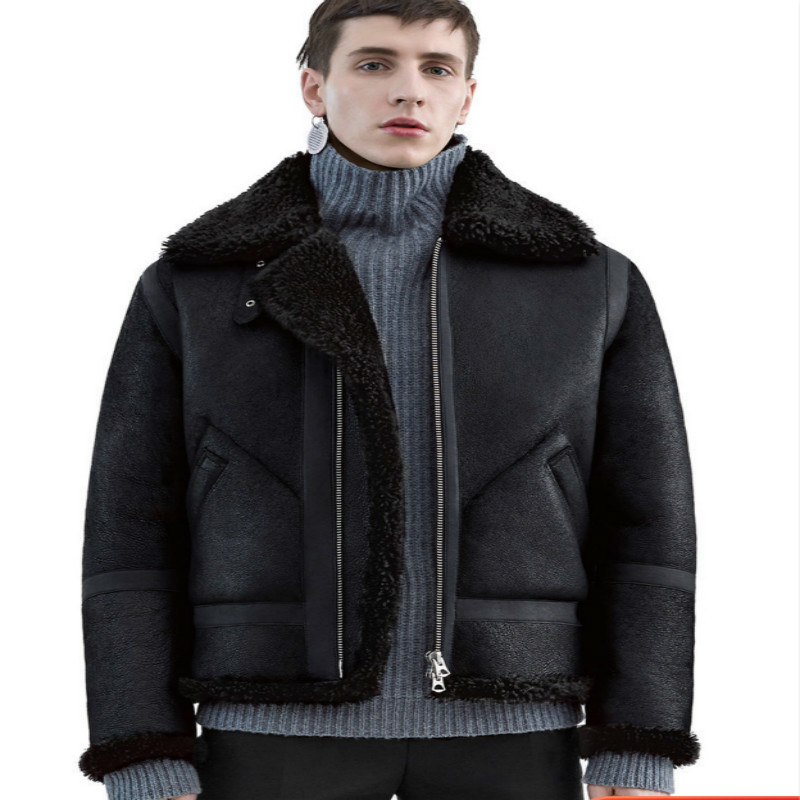 Natural Real Fur Coat Men Genuine Leather Jacket Winter Streetwear Wool Liner Shearling Coat Man Moto Biker Jackets 112