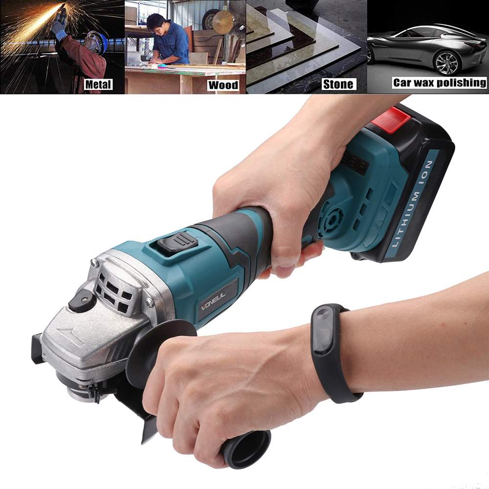 48V Cordless Angle Grinder 128tv/29800mA Lithium-Ion Grinding Machine Cutting Electric Angle Grinder Grinding OrChainsaw Bracket