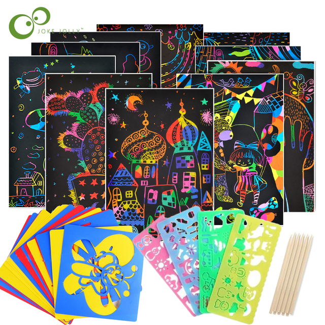$ US $2.79 Magic Color Rainbow Scratch Art Paper Card Set with Graffiti Stencil for Drawing Stick DIY Art Painting Toy for Children GYH