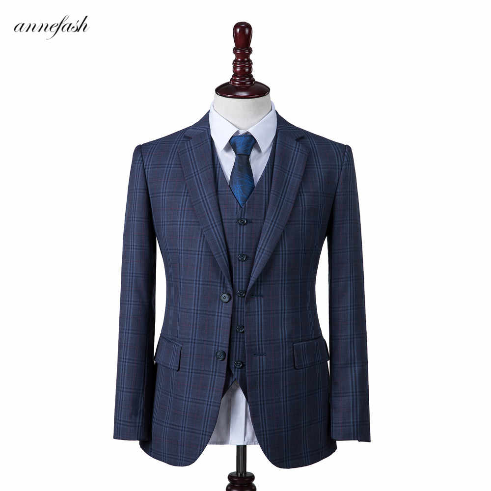 2019 New style Custom Made high quality 150's worsted wool blue windowpane check Men Suit for wedding business causal suit