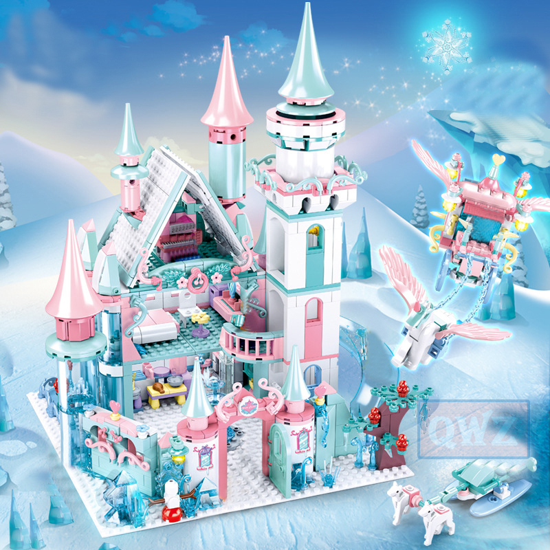 1314pcs Snow World Series Magical Ice Castle Set Girls Building Blocks Compatible Legoes Bricks Toys Girl Friend Christmas Gifts