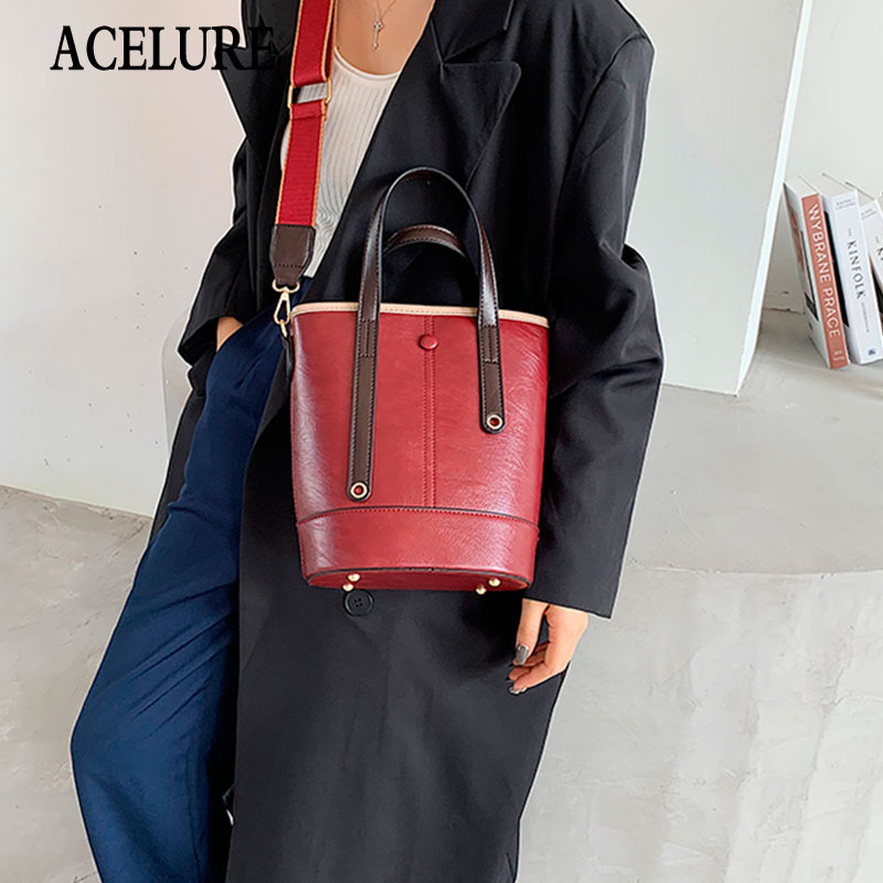 ACELURE Fashion All-match Bucket Bag for Women Simple Style Female PU Leather Handbags Solid Color Lady Shoulder Messenger Bag