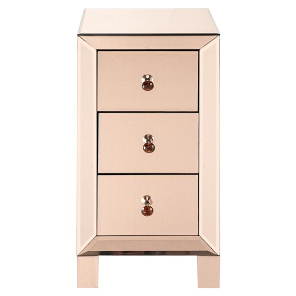 Modern And Contemporary Mirrored 3-Drawers Nightstand Bedside Table Rose Glass Night Table Side Table