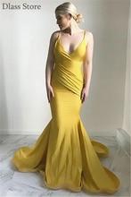 Женское вечернее платье с юбкой годе желтое глубоким v образным