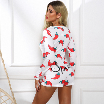Novel Style Chili Printed Short Jumpsuits Long Sleeve Casual V-neck Bodycon Romper Slim Stretch Sexy Autumn Christmas Playsuits 6