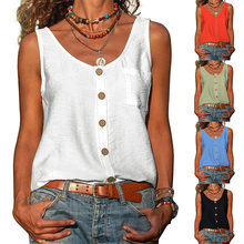 Summer New Solid Color V-neck Vest Button Sleeveless Pocket Tank Top Office Lady Commuter T-shirt Off Shoulder Simple Blouse