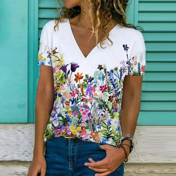 Women's Summer Fashion Printed  V-Neck T-Shirt Plus Size Short Sleeved Casual Loose  Ladies Tops S-2XL 1