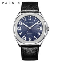 Parnis luxury Automatic Watches Minimalist Watches Mens Wrist Watch Sapphire Crystal Mechanical Watches 153 cheap 10Bar Leather Deployment Bucket Fashion Casual Automatic Self-Wind 23cm Stainless Steel Auto Date Complete Calendar Luminous Hands