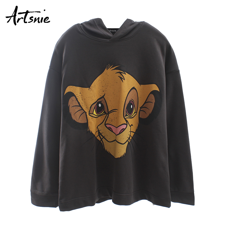 Artsnie Dark Gray Cartoon Print Women Sweatshirt Autumn 2019 Streetwear Casual Loose Hoodies Knitted Pullovers Sweatshirts Mujer