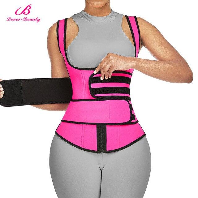 Lover-Beauty Neoprene Sauna Shaper Waist Trainer Corset Sweat Slimming Belt Women Weight Loss Compression Trimmer Workout Vest 2