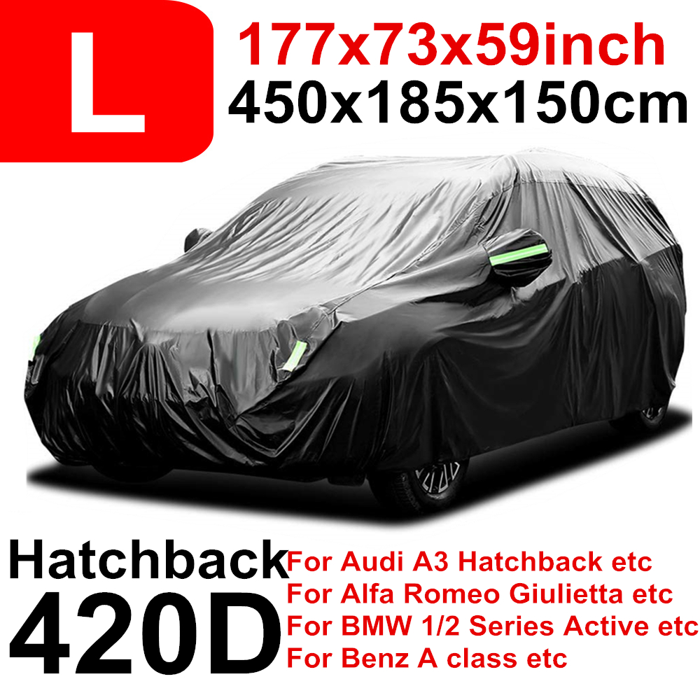 450cm 177inch 420D Rain Proof Waterproof Car Covers Hatchback Protector Sun UV Snow Dust For Audi A3 Alfa Romeo Giulietta DDD|Car Covers| |  - title=