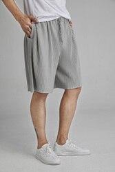 Мужские Плиссированные шорты MIYAKE, повседневные свободные шорты на шнурках в стиле хип-хоп