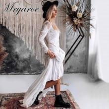 Mryarce מעודן תחרה ארוך שרוול ללא משענת חתונת שמלת 2019 Boho שיק שמלות כלה שמלות הכלה robe de mariage