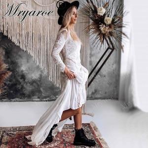 Image 1 - Mryarce מעודן תחרה ארוך שרוול ללא משענת חתונת שמלת 2019 Boho שיק שמלות כלה שמלות הכלה robe de mariage