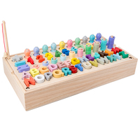 몬테소리 교육용 나무 장난감 기하학적 모양 매칭 카운트 자기 낚시 장난감 수학 어린이를위한 조기 교육 장난감