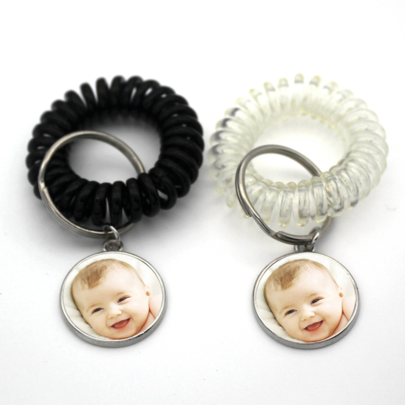 Telephone Coil Keychain Spring Rope Anti-lost Retractable Practical Line Key Ring Baby Grandparents Spring Photo Custom Jewelry