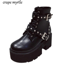 Купить с кэшбэком women low heel boots Winter Motorcycle Boots black studded boots Gothic Punk Low Heel ankle Boot Women snow winter Shoes YMA940