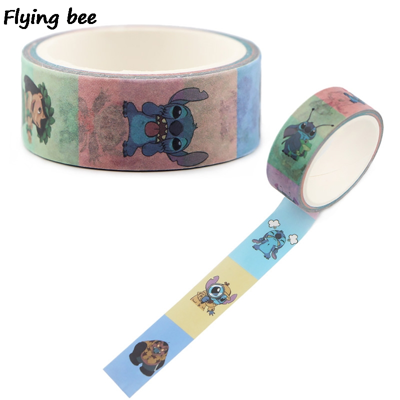 Flyingbee 15mmX5m Cute Stitch Washi Tape Paper DIY Planner Masking Tape Cartoon Adhesive Tapes Stickers Decorative X0498