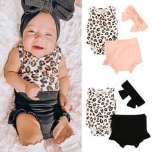 2020 Baby мальчики девочки лето без рукавов одежда леопарда комбинезоны шорты топы оголовье 3шт малышей младенческой Детская одежда наряды